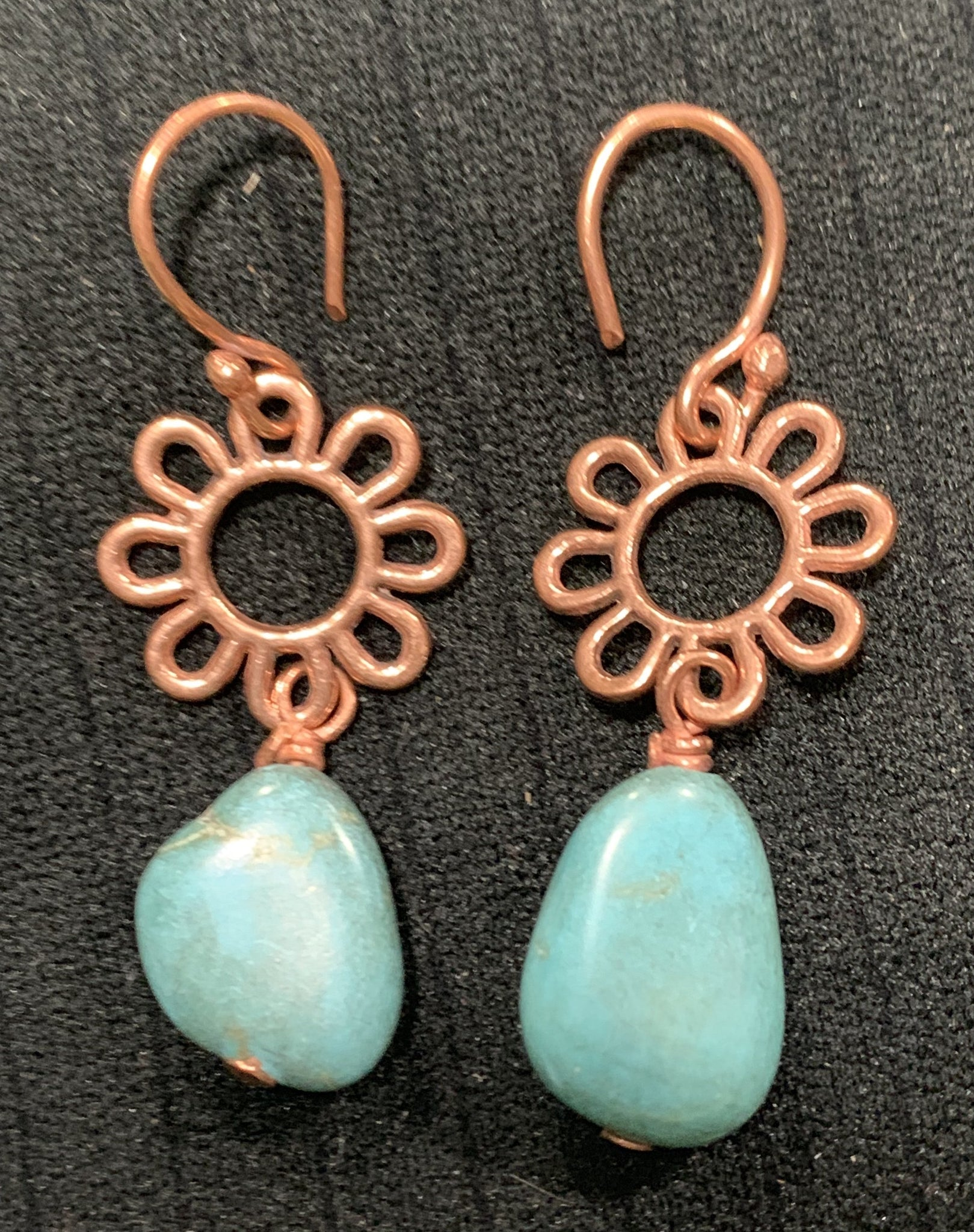 Faux Turquoise and Copper Earrings by Sarah Bernzott
