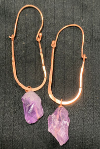 Amethyst Oval Hoop Earrings by Sarah Bernzott
