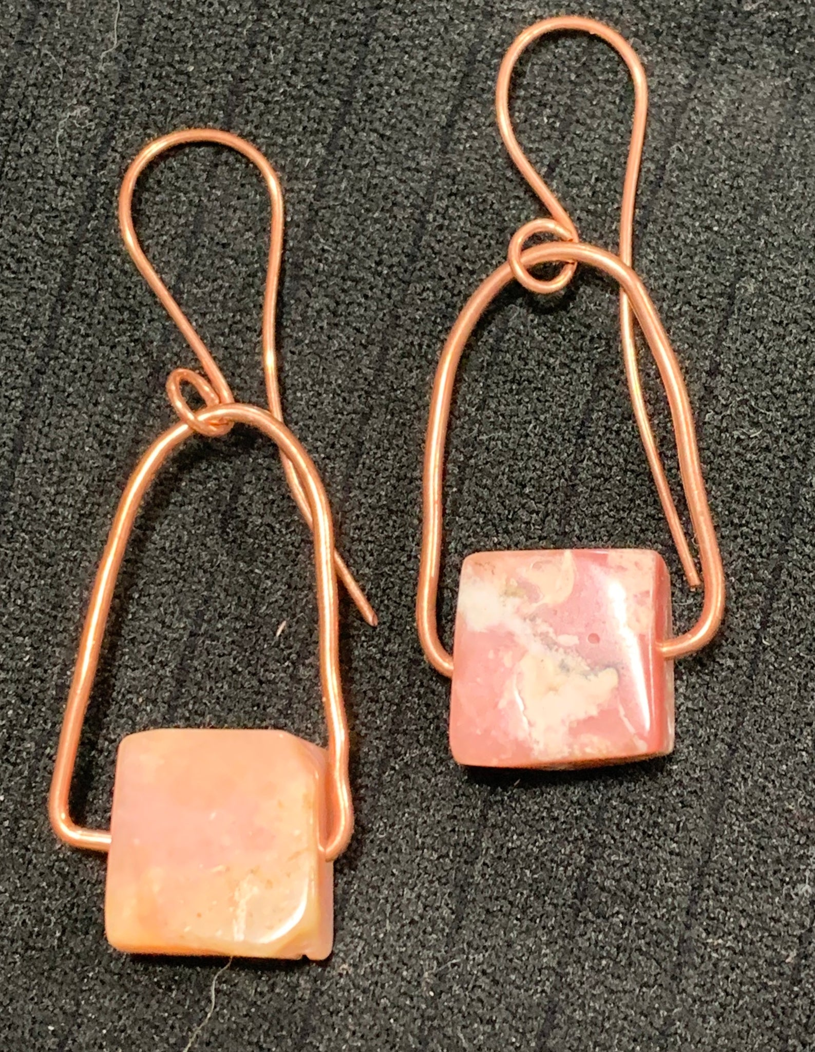 Pink Opal and Copper Earrings by Sarah Bernzott