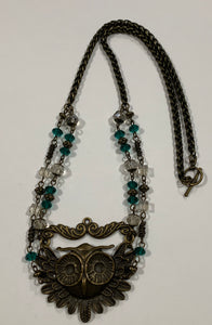 Antique Gold Owl Necklace with Green Crystals by Sarah Bernzott