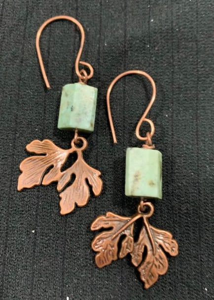 African Turquoise Leaf Dangles Earrings by Sarah Bernzott