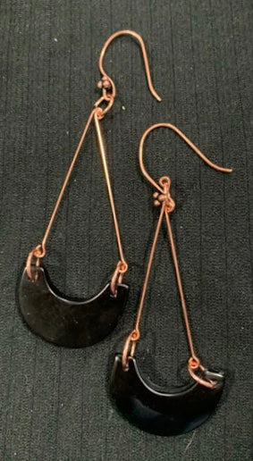 Black Onyx and Copper Dangle Earrings by Sarah Bernzott