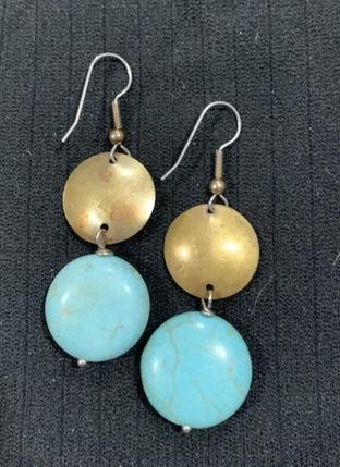 Magnesite on Brass Earrings by Sarah Bernzott