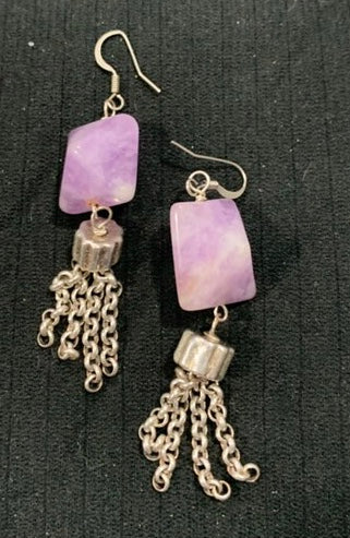 Dog Tooth Amethyst with Silver Dangle Earrings