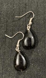 Black Czech Glass Earrings by Sarah Bernzott