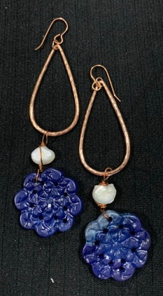 Copper Drops with Big Rage Blue Flowers and Pearls by Sarah Bernzott