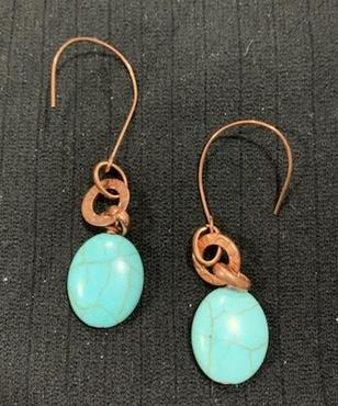 Magnesite Oval Drop on Copper Earrings by Sarah Bernzott