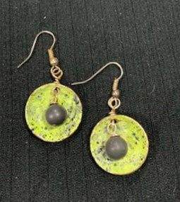 Green Enamel with Matte Black Onyx Earrings by Sarah Bernzott