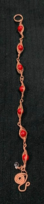 Coral with Woven Copper Bracelet by Sarah Bernzott