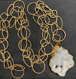 Large White Agate Geode Necklace by Sarah Bernzott