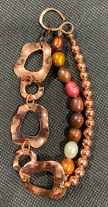 Multicolor Pearl and Copper Bracelet by Sarah Bernzott