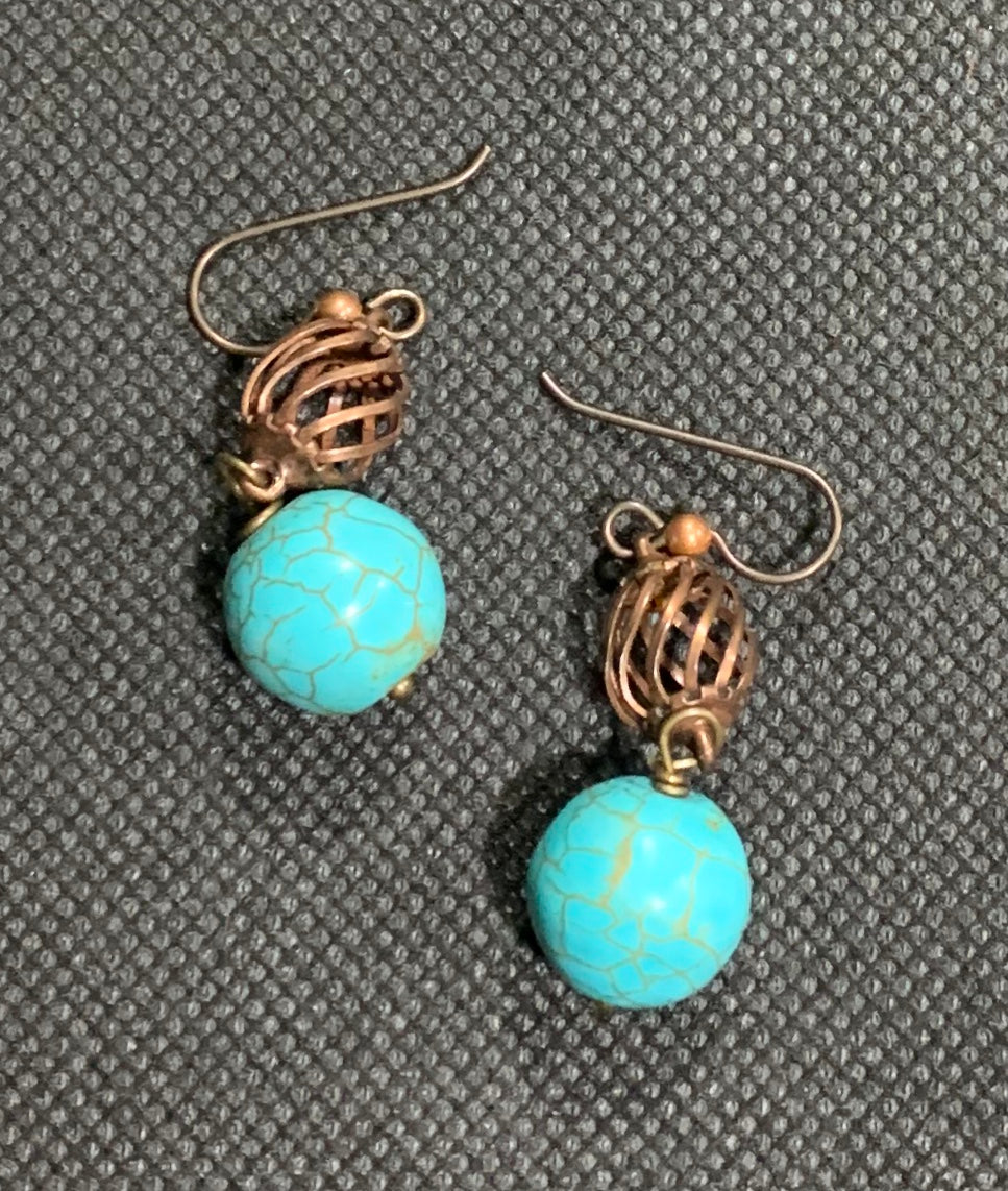 Copper and Magnesite Earrings by Sarah Bernzott