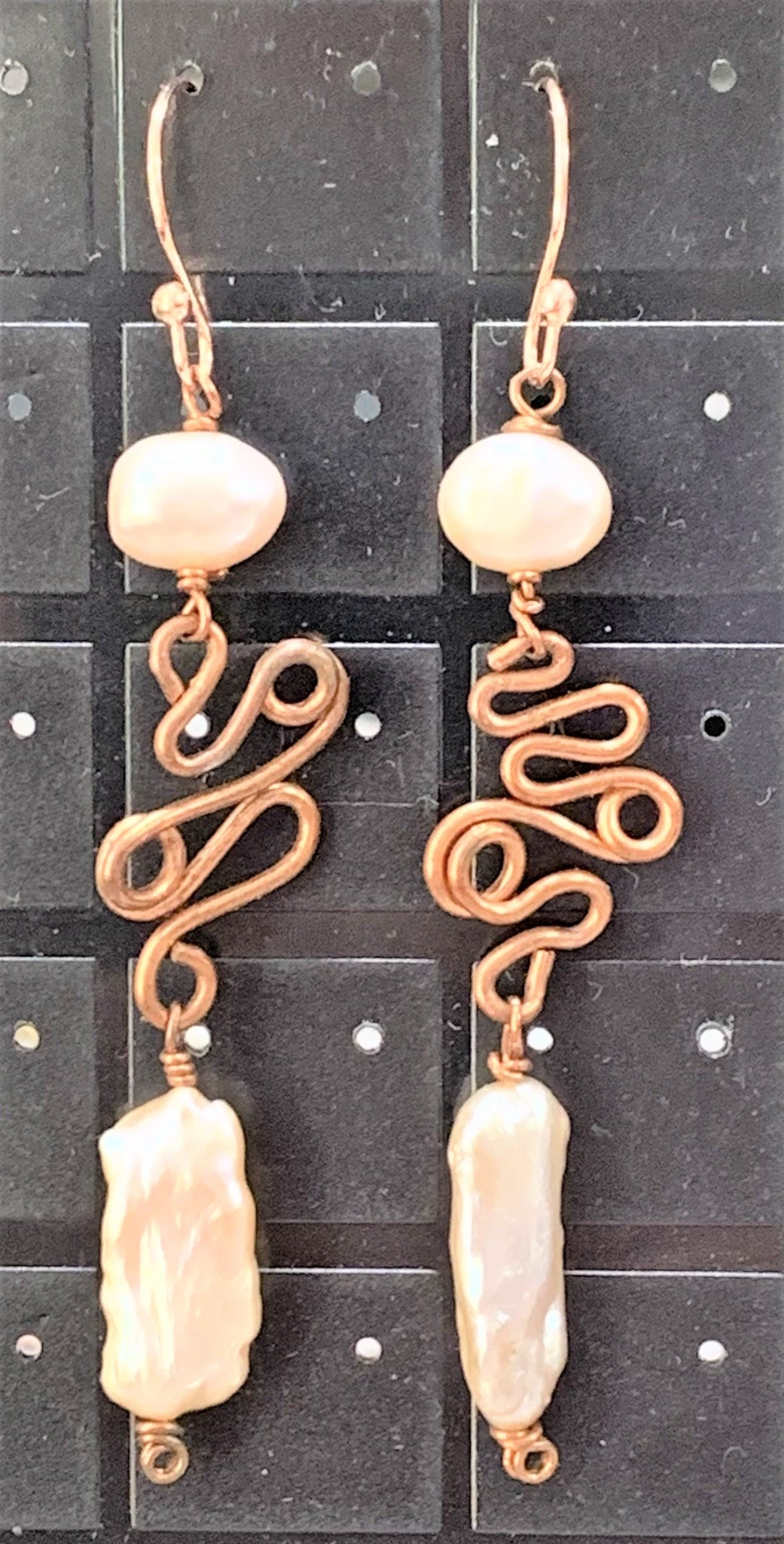 Hand-wired Pearls on Recycled Copper Earrings