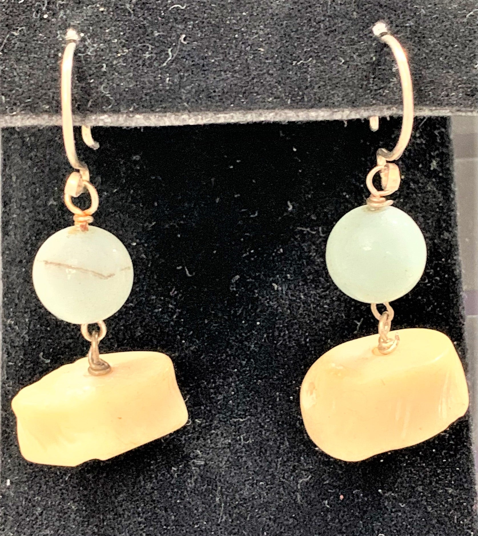 Sterling Silver Amazonite and Coral Earrings by Sarah Bernzott