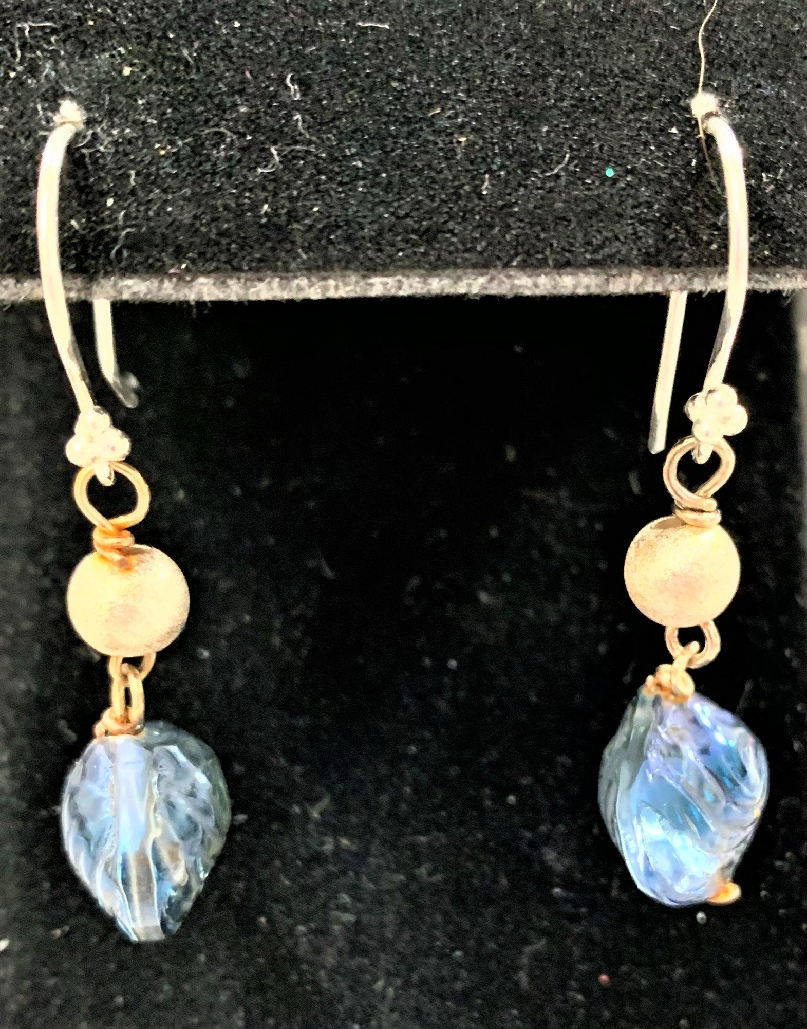 Blue Glass Shell Earrings