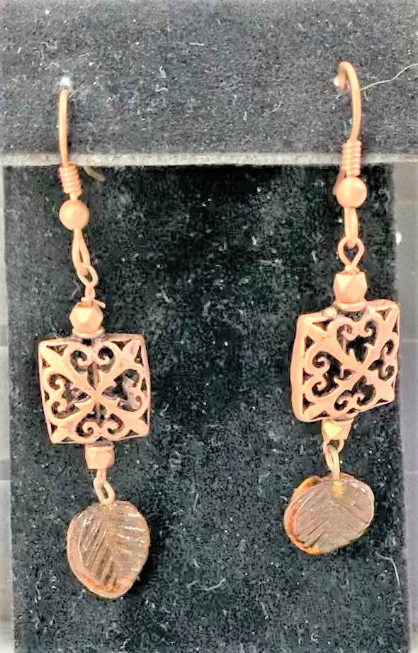 Copper and Czech Glass Leaves Earrings