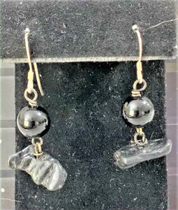 Black Onyx and Tektite Earrings