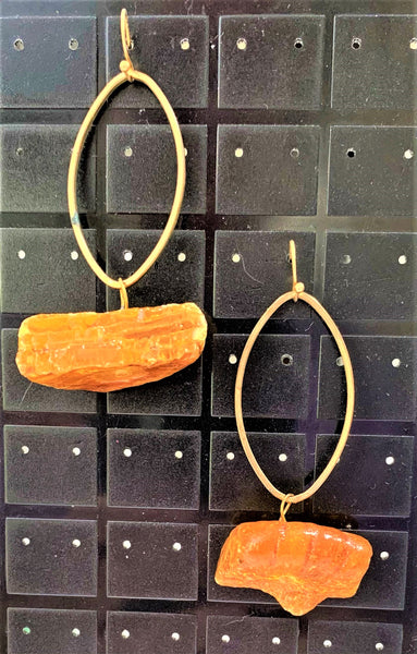 Golden Ovals with Baltic Amber Drop Earrings by Sarah Bernzott