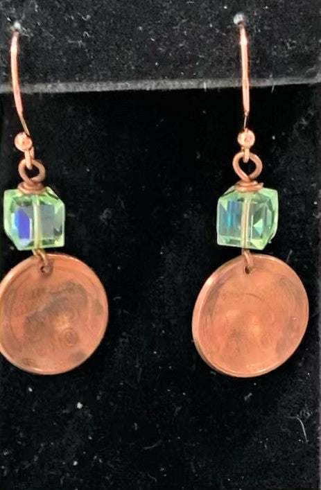 Copper Penny with Swarovski Crystal Earrings by Sarah Bernzott