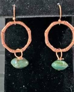 Copper with Vintage Green Glass Earrings