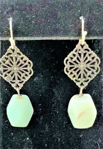 Amazonite Tetrahedron on Gunmetal Earrings