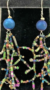 Blue Druzy Stone with Seed Bead Coral Stitch Earrings