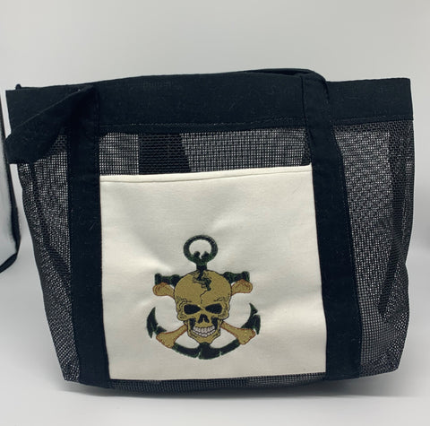 Handmade Black Pirate Beach Bag by Marianne Bramble