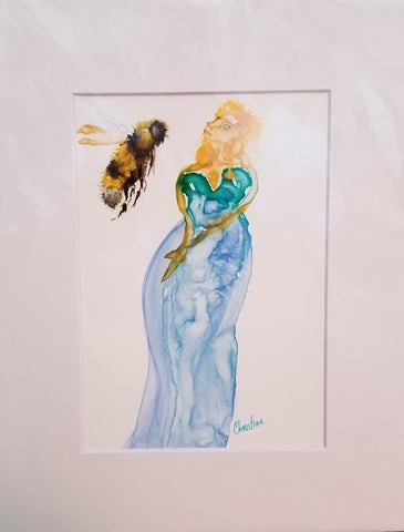 """Bee with Mermaid"" Original Watercolor on Yupo by Christine Bishop"
