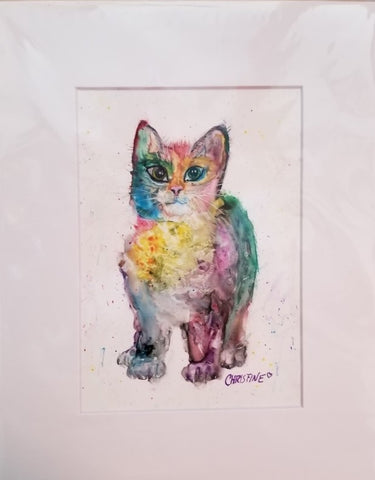 """Kitten"" Matted Watercolor on Yupo by Christine Bishop"
