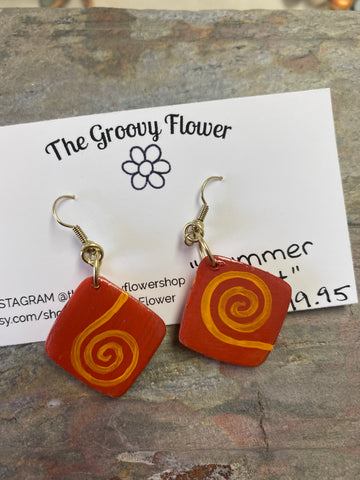 """Summer Heat""  Double-Sided Drop Earrings by Corrine Dowd"