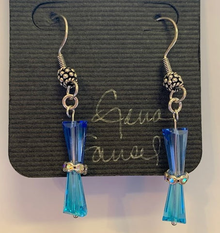 Blue Sterling Silver Earrings by Gena Fausel