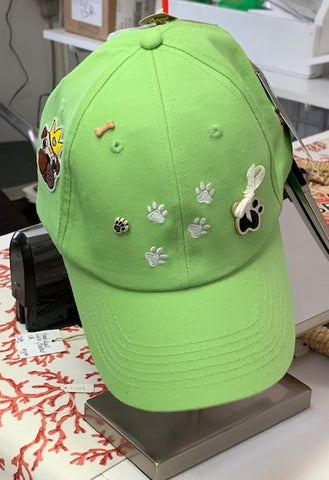 Green Dog Themed  Artisan Cap by Gena Fausel