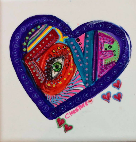 """Eye Love"" Original Alcohol Ink on Tile by Christine Bishop"