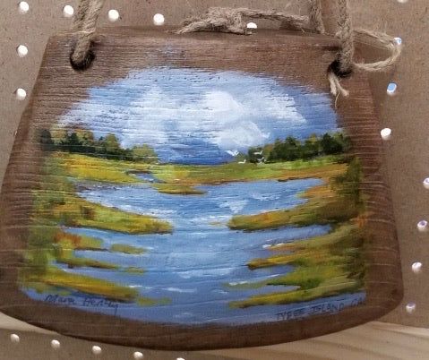 Marsh on Wooden Cow Bell by Margi Hershey