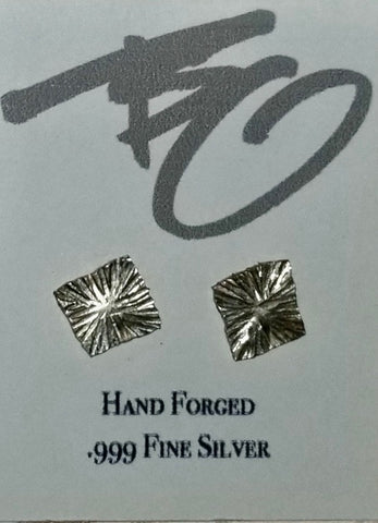 ".999 Pure Silver Square ""Starburst"" Stud Earrings by Brian Gilbert"