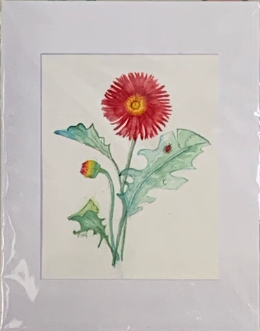 """Lady Bug on Gerber Daisy"" Original Watercolor by Ting Blessington"
