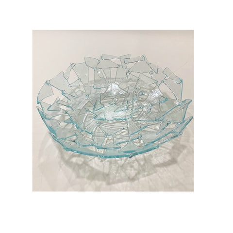 """Abstract Geometric Ice"" 11-inch Functional Art Bowl"