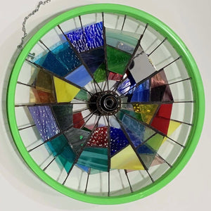 Stained Glass Green Wheel Window Art by Martin Rowe