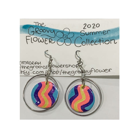 """Party at the Beach"" Polymer Clay Drop Earrings by Corrine Dowd"