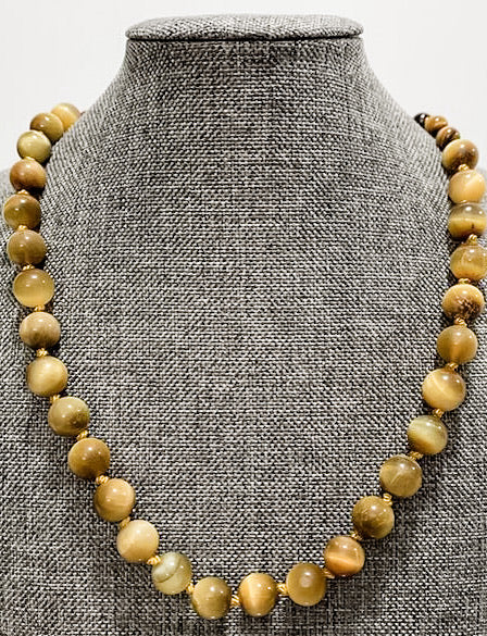 Knotted Silk Graduated Brown and Golden Tiger Eye Necklace