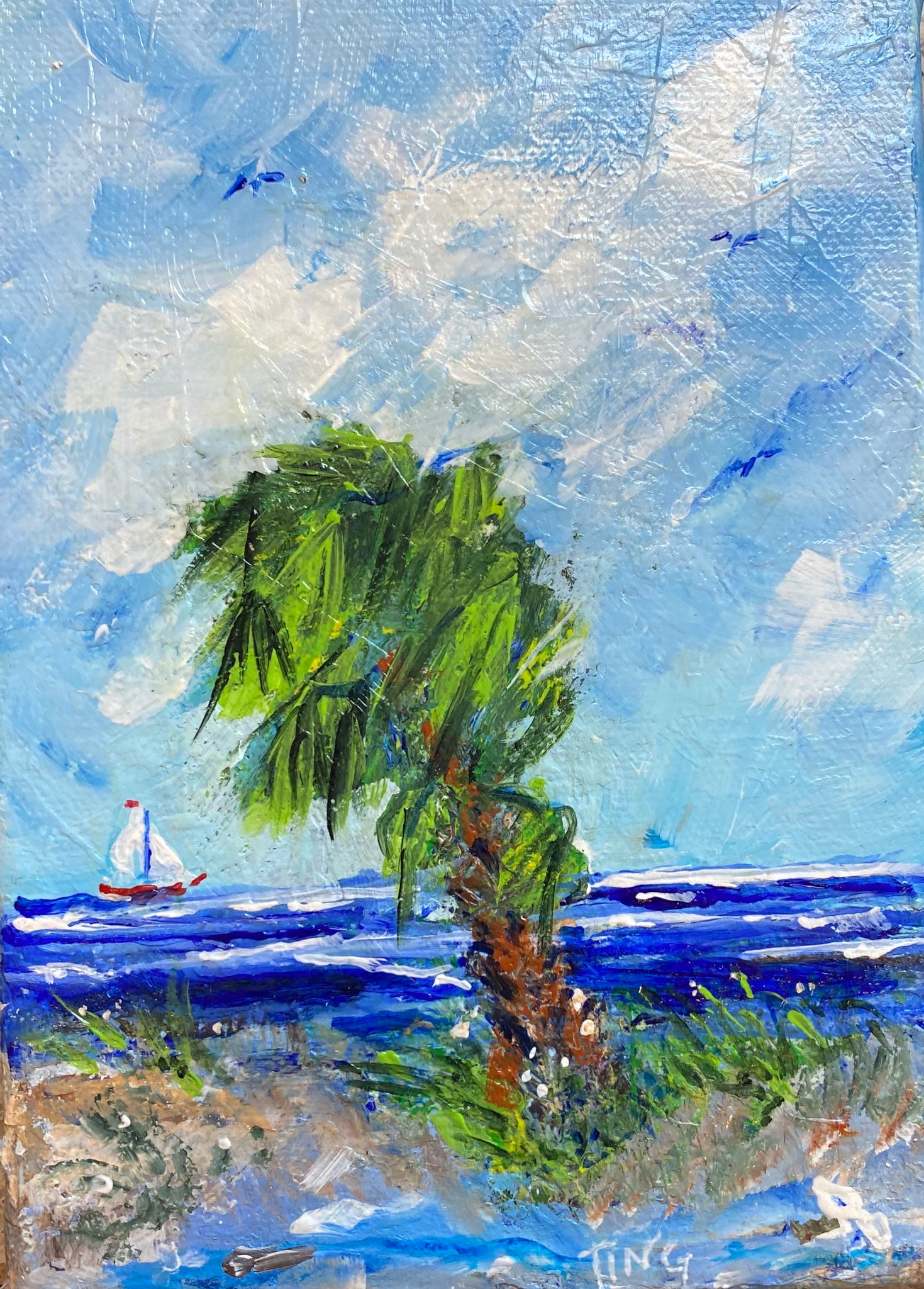 """Lone Palm I"" Original Acrylic by Ting Blessington"