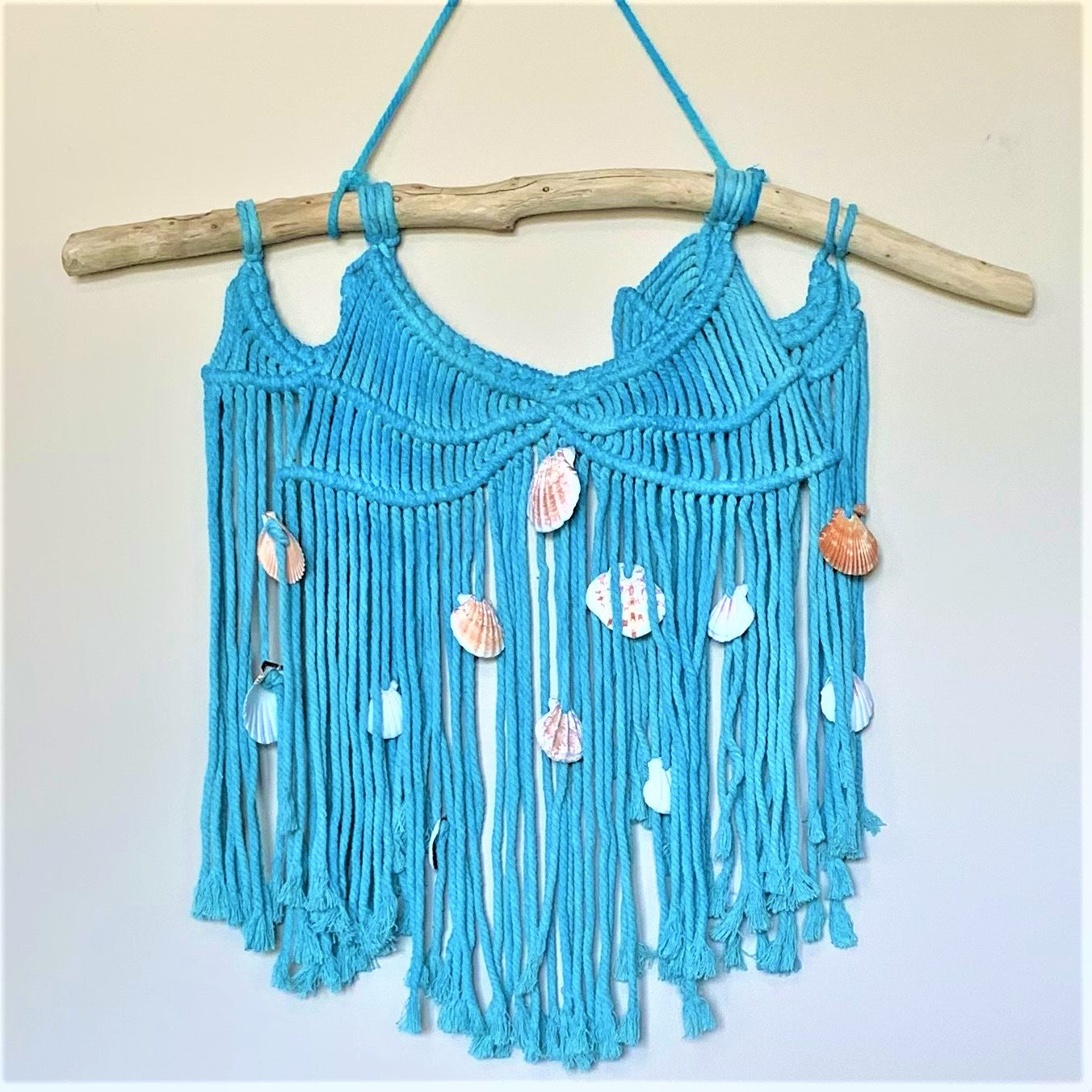 24-Inch Tie Dyed Turquoise Macramé Wall Hanging on Driftwood