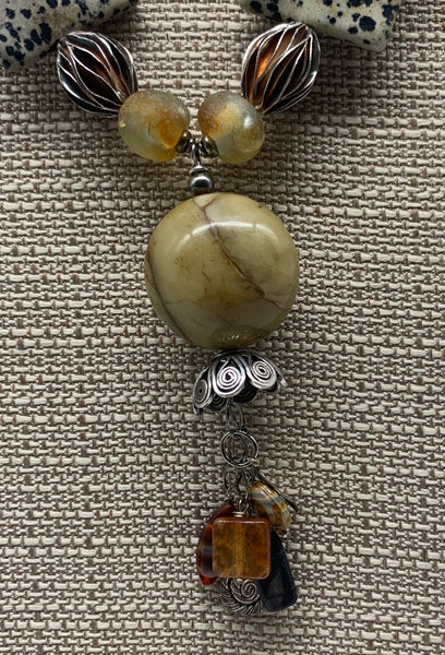 Dalmatian Jasper and African Glass Necklace  by Jules Heerlein