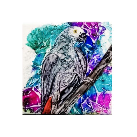 """African Grey"" Original Alcohol Ink on Tile by Christine Bishop"