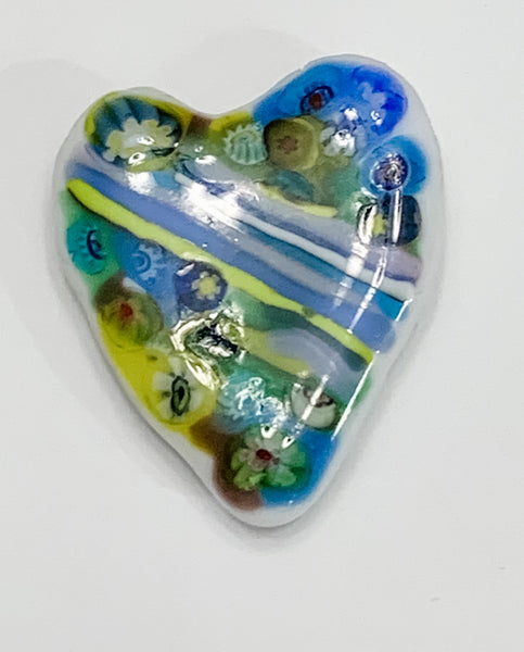 Fused Glass Heart Shaped Magnet