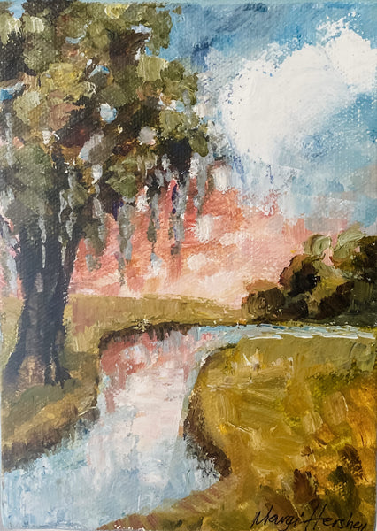 """Creekside II"" Original Oil by Margi Hershey"