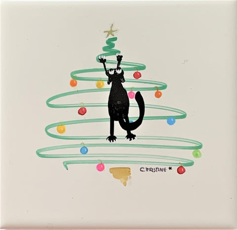 """Cat Climbing Christmas Tree""  Original Alcohol Ink on Tile by Christine Bishop"