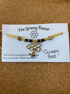 """Queen Bee"" Beaded Necklace by Corrine Dowd"