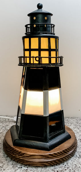 """Lighted Stained-Glass Replica Tybee Lighthouse"""