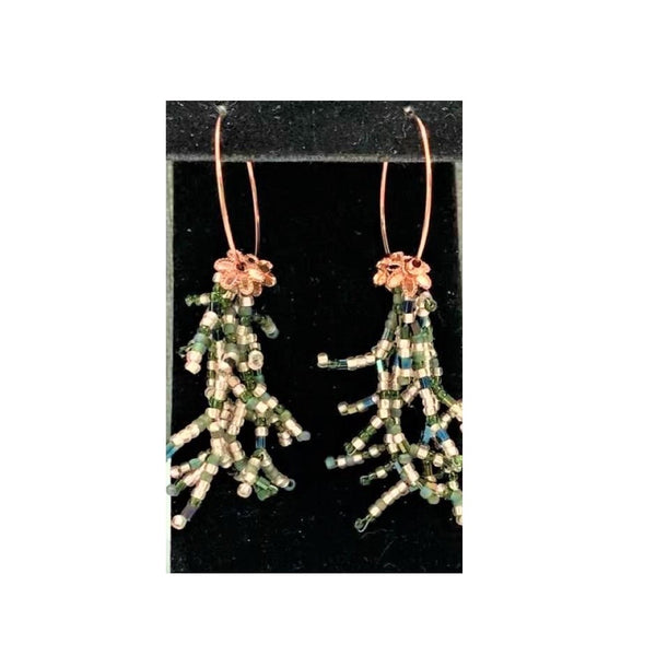 Green and Silver Seed Bead Coral Stitch on Copper Hoops